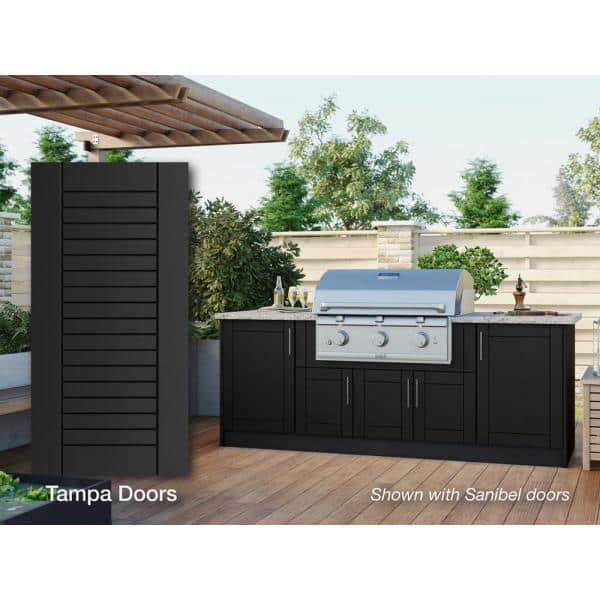 Weatherstrong Tampa Pitch Black 14 Piece 91 25 In X 34 5 In X 28 5 In Outdoor Kitchen Cabinet Island Set Wse90i Tpb The Home Depot