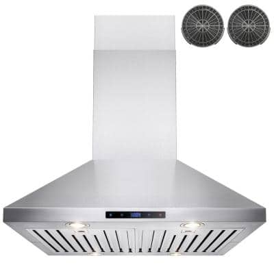 30 in. Convertible Kitchen Island Mount Range Hood in Stainless Steel with Touch Control and Carbon Filter