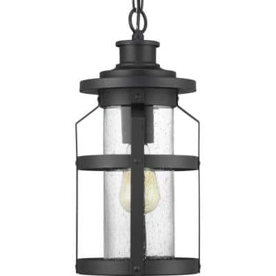 Haslett Collection 1-Light Textured Black Clear Seeded Glass Farmhouse Outdoor Hanging Lantern Light