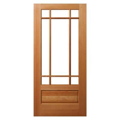 36 in. x 80 in. 1 Panel Universal/Reversible 9-Lite Clear Glass Unfinished Fir Wood Front Door Slab