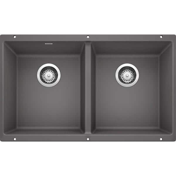Blanco Precis Undermount Granite Composite 29 75 In 50 Double Bowl Kitchen Sink Cinder 519050 The Home Depot