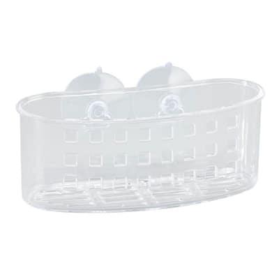 Medium Bath Basket with Suction in Clear