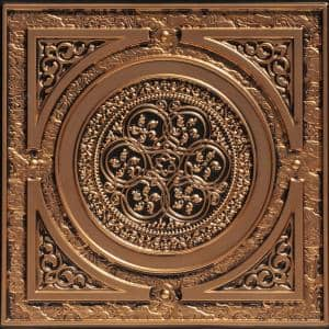 Steampunk 2 ft. x 2 ft. PVC Glue-up or Lay-in Ceiling Tile in Antique Gold