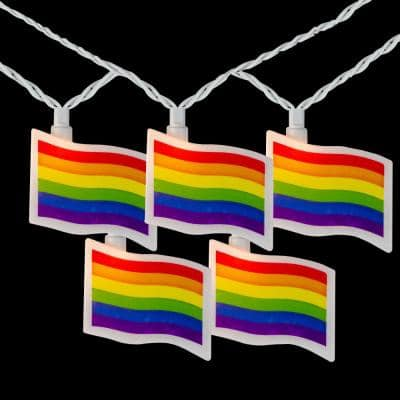 7.5 ft. 10-Light Clear Pride Flag Novelty Incandescent String Lights with White Wire