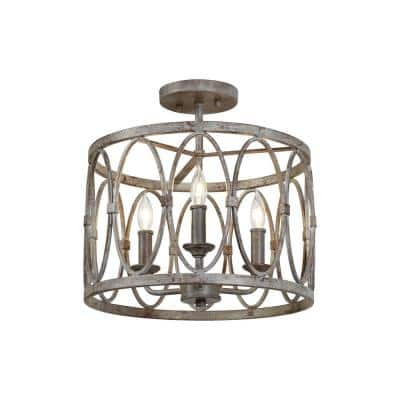 Patrice 14 in. 3-Light Deep Abyss Semi-Flush Mount with Open Oval Cage Shade