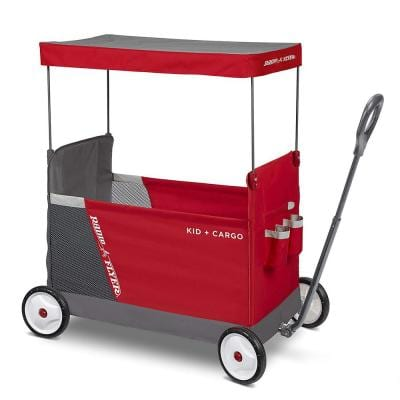 Kid and Cargo Folding Wagon with 2 Versatile Seats and Canopy, Red