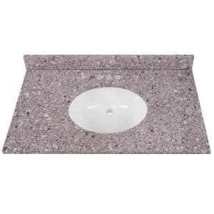 37 in. W x 22 in. D Stone Effects Vanity Top in Mineral Gray with White Sink