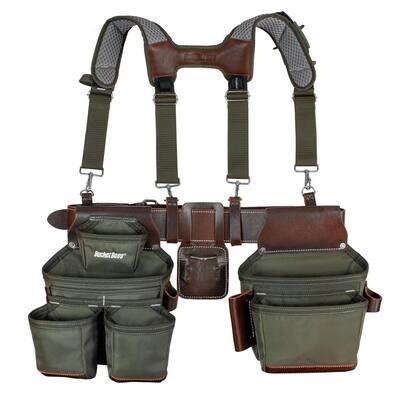 2-Bag Hybrid Suspension Rig Work Tool Belt with Suspenders in Green