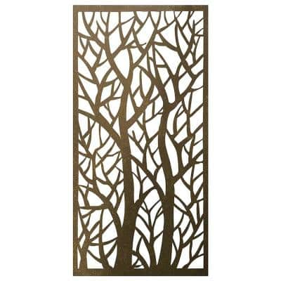 4 ft. x 2 ft. Brown Metal Decorative Privacy Screen Panel Fencing