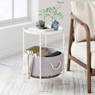 Oraa Beige and White Metal Frame Nightstand or Side Table with Storage Basket and Rope Handle