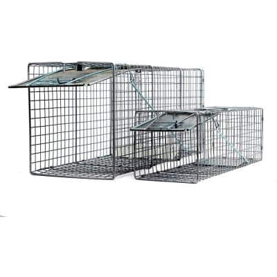 2pc Value Pack Catch Release Heavy Duty Humane Cage Live Animal Traps for Possums, Cats, and Other Similar Sized Animals