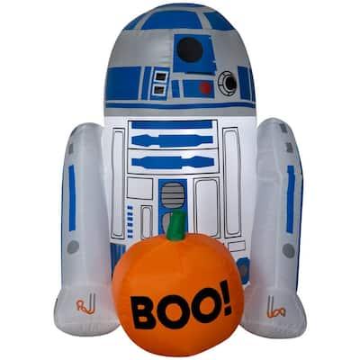 3 ft. H R2-D2 with Boo Pumpkin