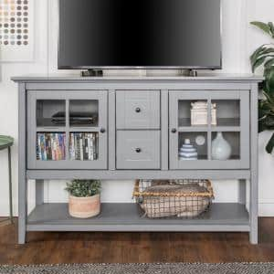 52 in. Transitional Wood and Glass Buffet - Antique Grey