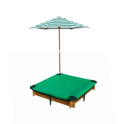 3-3/4 ft. x 3-3/4 ft. x 8 in. Square Interlocking Sandbox with Cover and Umbrella