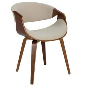 Curvo Bent Wood Walnut and Cream Dining/Accent Chair
