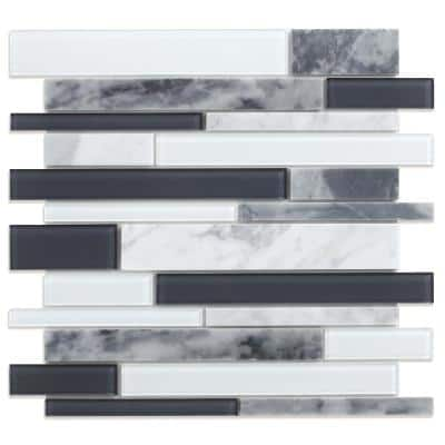 Ice Gray and White 11.97 in. x 10.55 in. x 5 mm Glass and Stone Self-Adhesive Wall Mosaic Tile (5.26 sq.ft./Case)