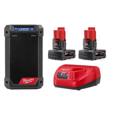 M12 12-Volt Lithium-Ion Cordless Bluetooth/AM/FM Jobsite Radio with Charger with Two M12 6.0 Ah Battery Packs & Charger