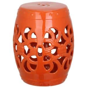 Imperial Vine Orange Ceramic Garden Stool