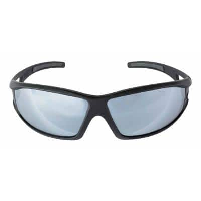 Safety Eyewear Glasses Black Frame with Gray Accent Silver Mirror Anti-Fog and Scratch Resistant Lens (4-Case)
