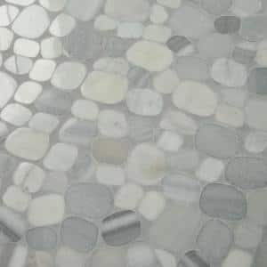 Stone Decor Shadow 12 in. x 12 in. x 10 mm Marble Pebble Mosaic Floor and Wall Tile (0.95 sq. ft./ Each)