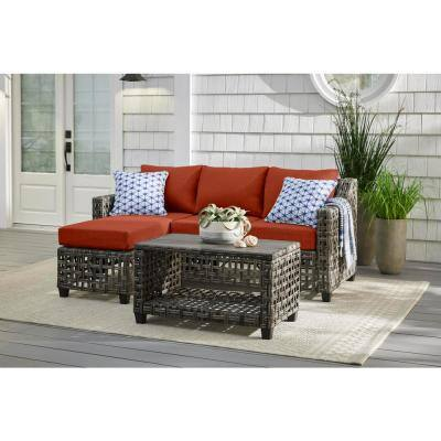 Briar Ridge 3-Piece Brown Wicker Outdoor Patio Sectional Sofa with CushionGuard Quarry Red Cushions