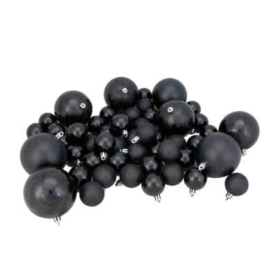 Jet Black Shatterproof 4-Finish Christmas Ornaments (125-Count)