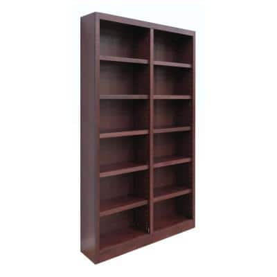 84 in. Cherry Wood 12-shelf Standard Bookcase with Adjustable Shelves
