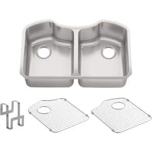 Octave Undermount Stainless Steel 32 in. Double Bowl Kitchen Sink