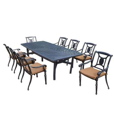 Brown 9-Piece Aluminum Rectangular Outdoor Patio Dining Set with 8 Stackable Chairs with Brown/Rust Sunbrella Cushions