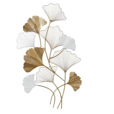 Large Metal White And Gold Leaf Wall Decor 25 in. x 40 in.