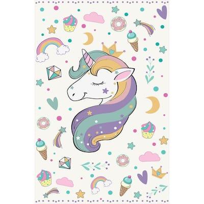 Decorative White Unicorn Laminated Kids Mat 39 in x 59 in
