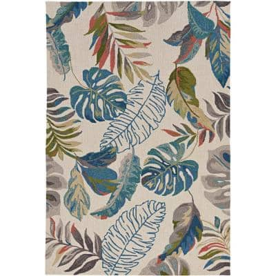 Harbor Ivory/Teal Palms 5 ft. x 8 ft. Indoor/Outdoor Accent Rug