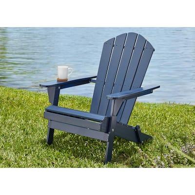 Midnight Folding Outdoor Adirondack Chair (2-Pack)