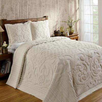 Ashton Collection in Medallion Design Ivory King 100% Cotton Tufted Chenille Bedspread