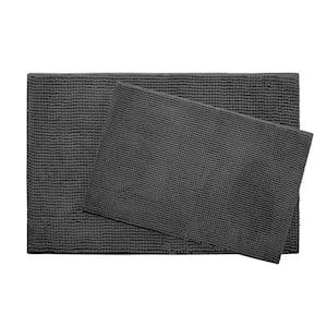 Plush Chenille 17 in. x 24 in./ 20 in. x 30 in. 2-Piece Memory Foam Bath Mat Set in Dark Grey