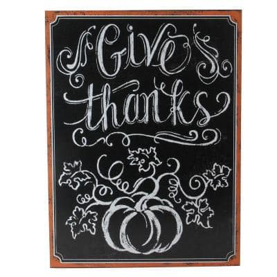 """14 in. Holiday Inspired Framed """"Give Thanks"""" Inscribed Chalkboard Wall Art"""