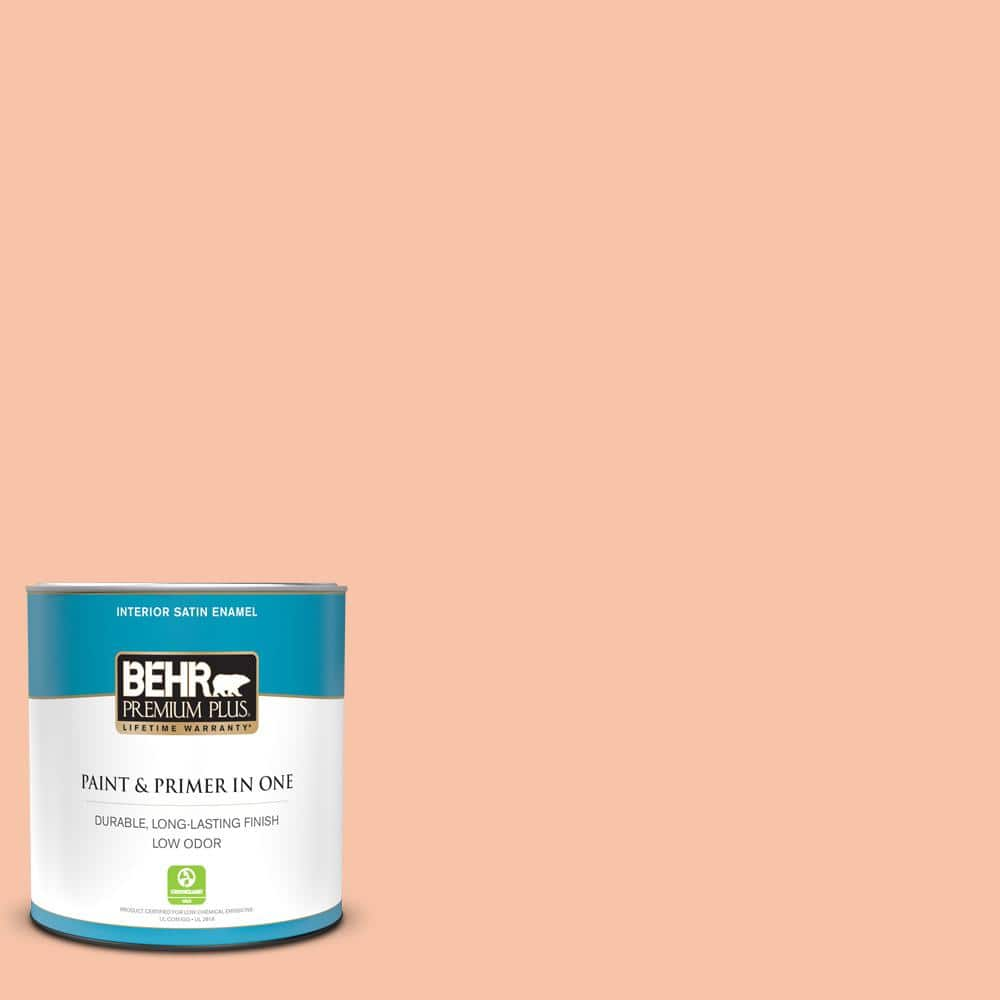 Behr Premium Plus 1 Qt 230c 3 Pink Beach Satin Enamel Low Odor Interior Paint And Primer In One 705004 The Home Depot