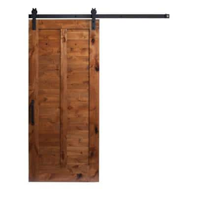 36 in. x 84 in. Unassembled Stain and Clear Plantation Sliding Barn Door Kit with Hardware