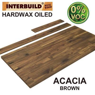 85 in. x 24 in. x 1 in. Acacia Vanity Top with Backsplash, Brown