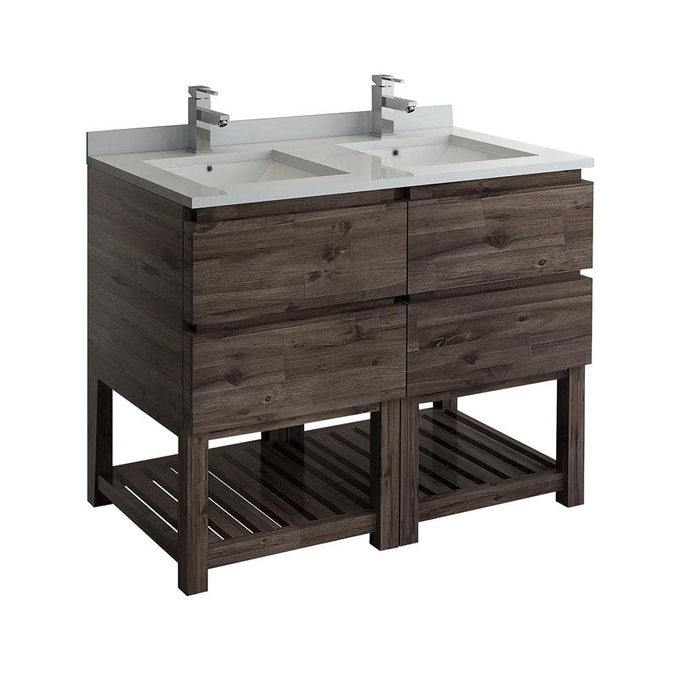 Fresca Formosa 46 In W Modern Double Vanity Cabinet Only With Open Bottom In Warm Gray Fcb31 2424aca Fs The Home Depot