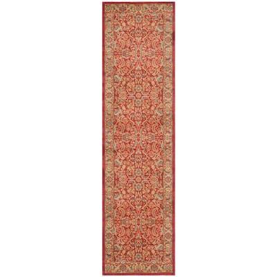 Mahal Red/Natural 2 ft. x 14 ft. Border Floral Antique Runner Rug