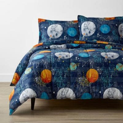 Company Kids Space Travel 3-Piece Multicolored Organic Cotton Percale Full/Queen Comforter Set
