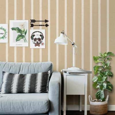 Ottoman Striped Texture Light Brown Vinyl Non-Woven Strippable Roll Wallpaper (Covers 59.2 sq. ft.)