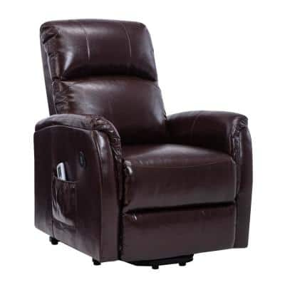 Luxury Brown Leather Air Power Lift and Recline Massage Chair