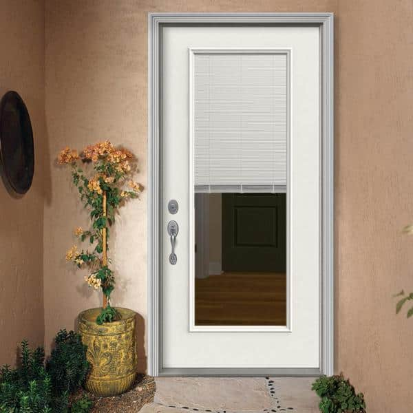 Jeld Wen 32 In X 80 In Full Lite Primed Fiberglass Prehung Right Hand Inswing Back Door W Mini Blinds And Brickmould I09775 The Home Depot