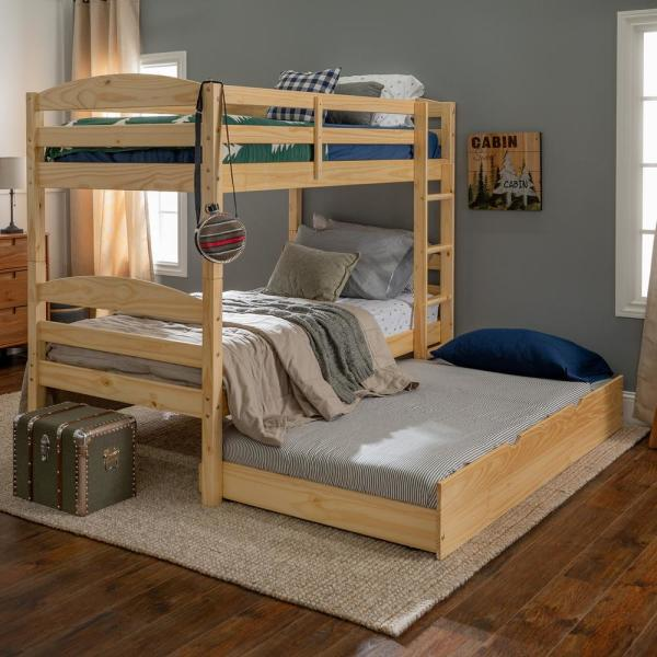 Welwick Designs Solid Wood Twin Over Twin Bunk Bed Storage Trundle Bed Natural Hd8447 The Home Depot