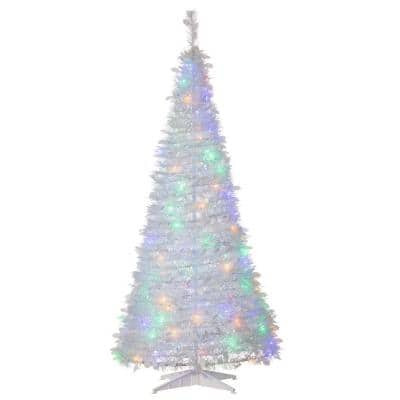 Sterling Tree Company 6 Ft Artificial Pop Up Led White Pine Christmas Tree With Multicolored Lights 6461 60mlww The Home Depot