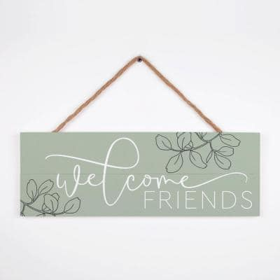 WELCOME FRIENDS Individual moss green Decorative Sign