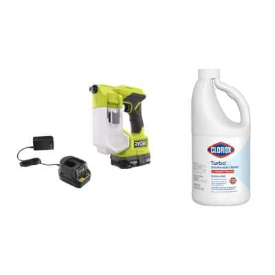 ONE+ 18V Cordless Handheld Sprayer Kit with (1) 1.5 Ah Battery and Chargerand Clorox Turbo 64 oz. Disinfectant Cleaner