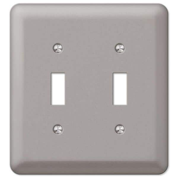 Hampton Bay Declan 2 Gang Toggle Steel Wall Plate Pewter 2ttpwhb The Home Depot